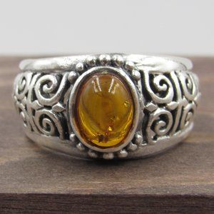 Size 6.5 Sterling Silver Unique Amber Ornate Ring